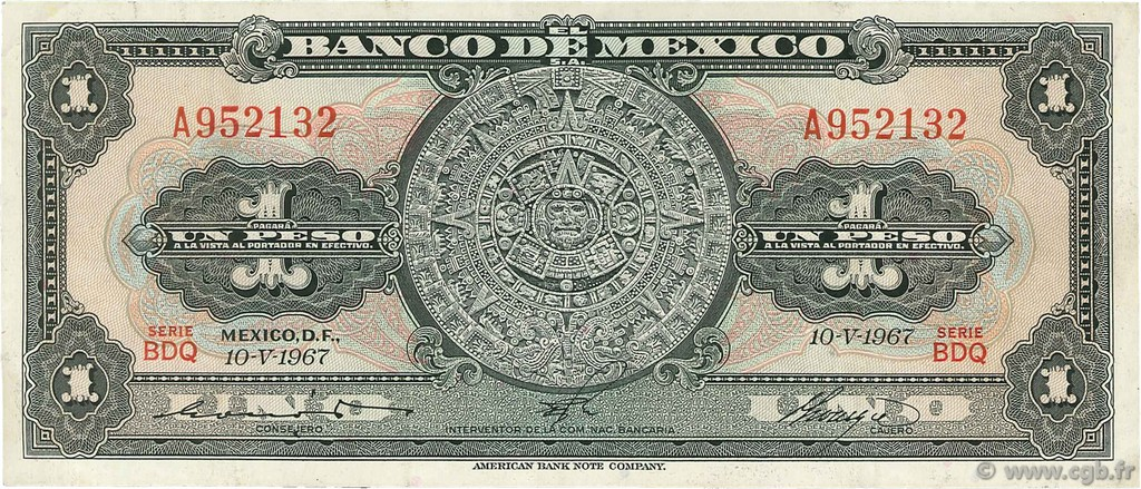 1 Peso MEXIQUE  1967 P.059j TTB