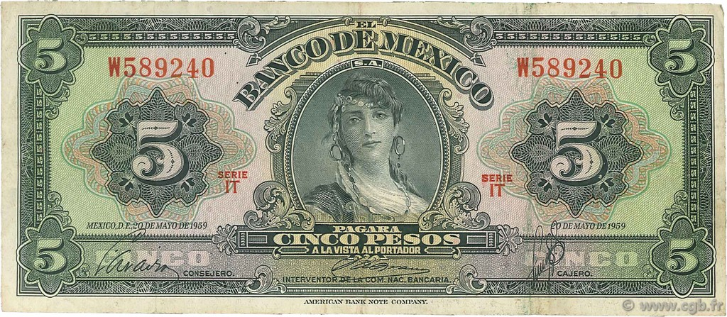 5 Pesos MEXIQUE  1959 P.060e TB+