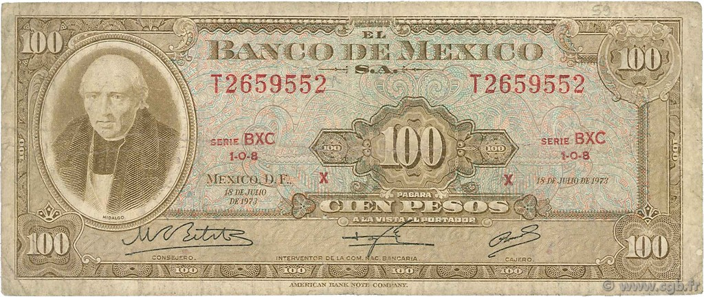 100 Pesos MEXIQUE  1973 P.061i B