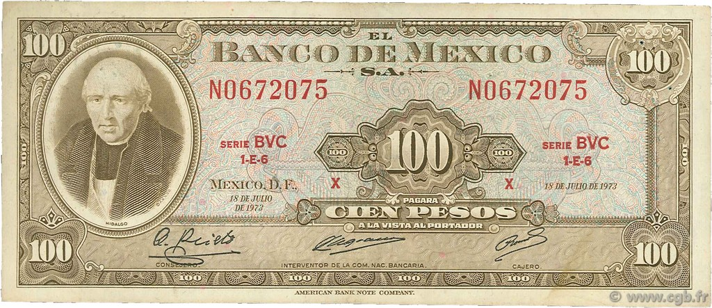 100 Pesos MEXIQUE  1973 P.061i TB