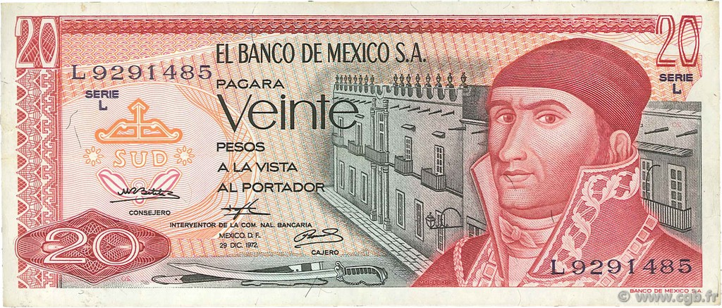 20 Pesos MEXIQUE  1972 P.064a TTB