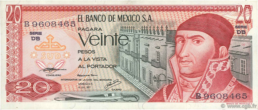 20 Pesos  MEXIQUE  1977 P.064d TTB+