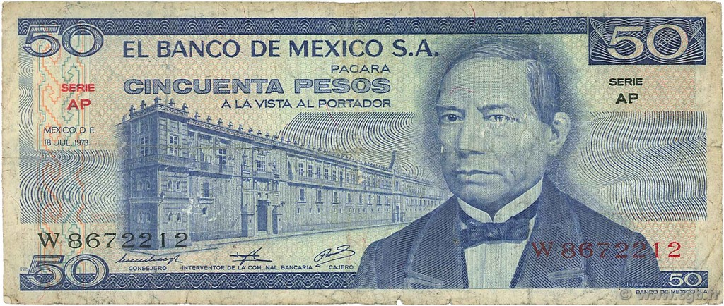 50 Pesos MEXIQUE  1973 P.065a B