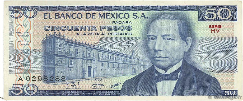 50 Pesos MEXIQUE  1981 P.073 TTB