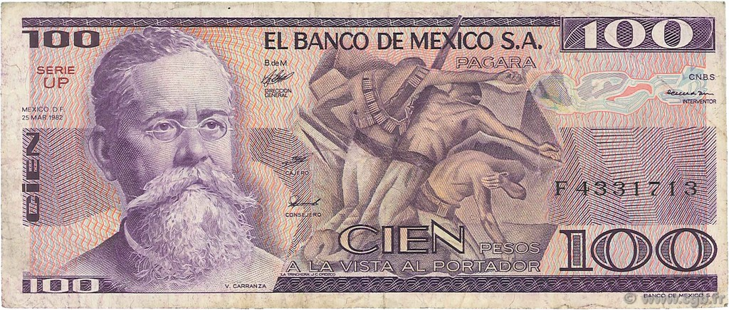 100 Pesos  MEXIQUE  1982 P.074c TB