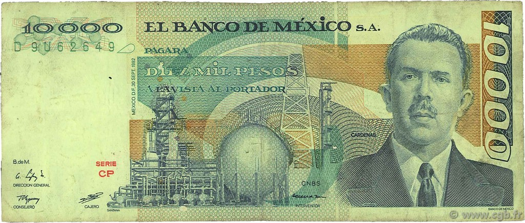 10000 Pesos MEXIQUE  1982 P.078d TB