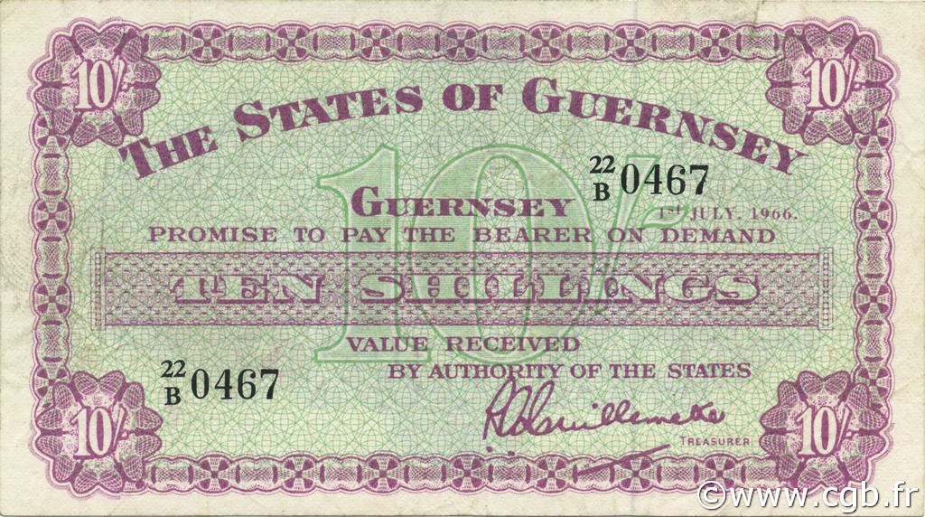 10 Shillings GUERNESEY  1966 P.42c pr.SUP