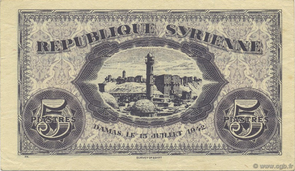 5 Piastres SYRIE  1942 P.049 SUP