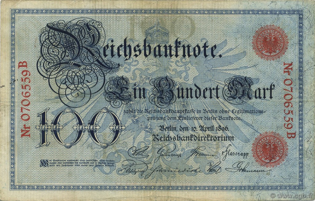 100 Mark  GERMANY  1896 P.018 VF