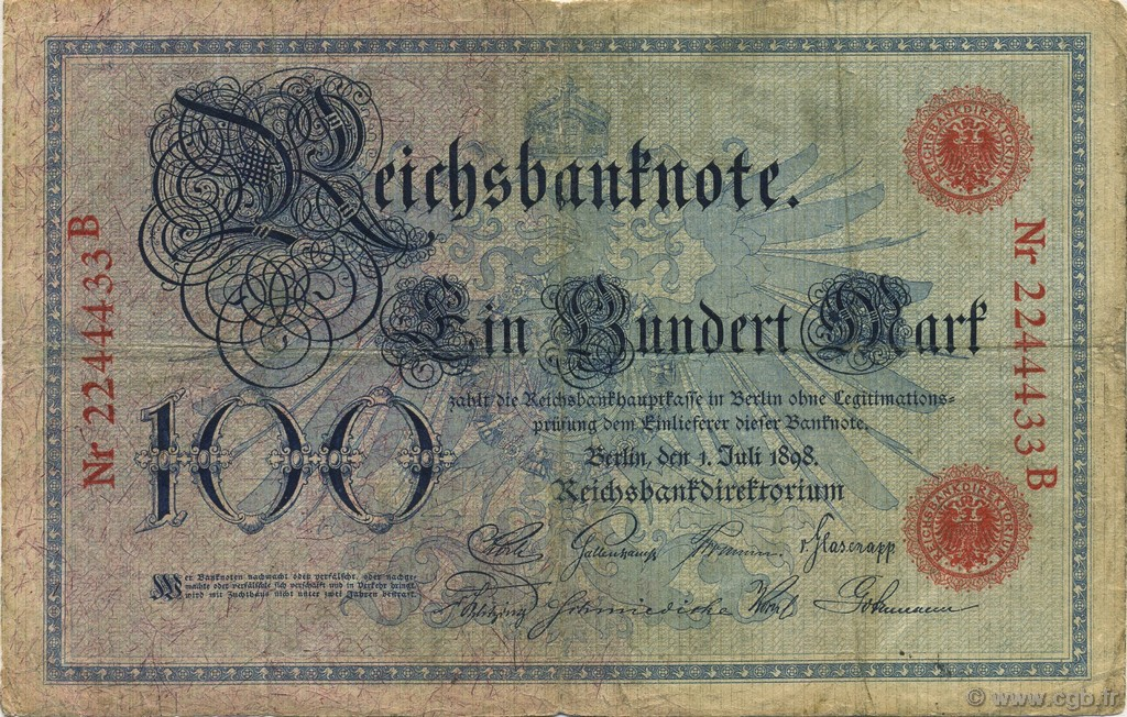 100 Mark ALLEMAGNE  1898 P.020a TB