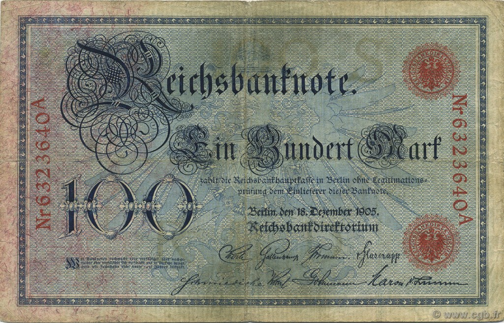 100 Mark ALLEMAGNE  1905 P.024b TB+