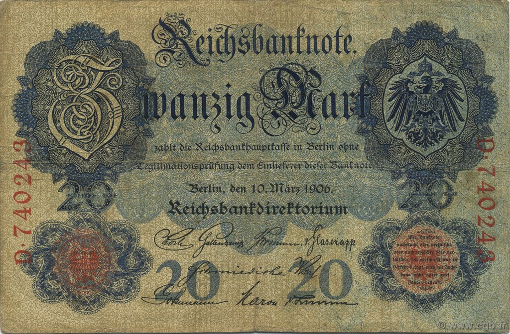 20 Mark ALLEMAGNE  1906 P.025a TB