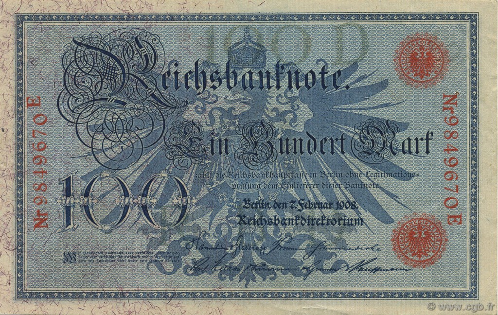 100 Mark ALLEMAGNE  1908 P.033a SUP