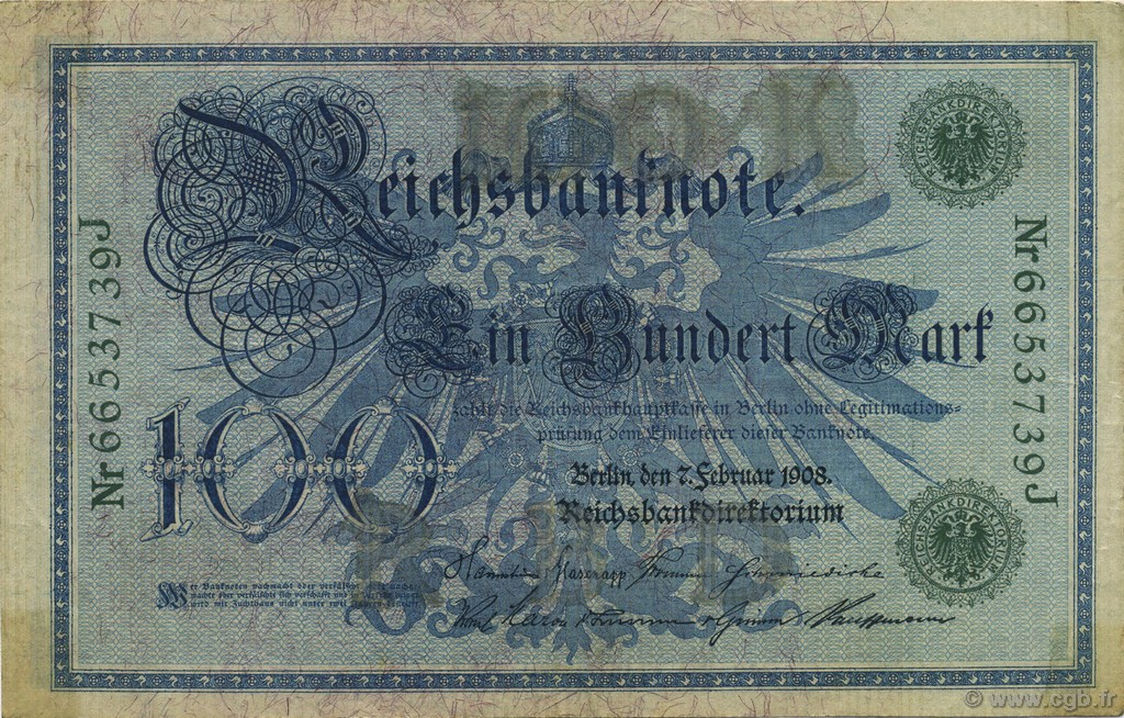 100 Mark  GERMANY  1908 P.034 VF