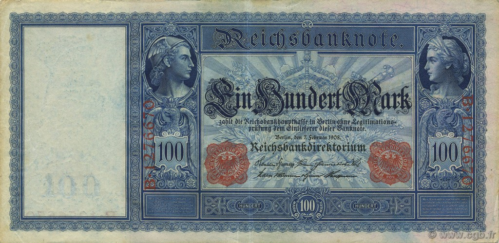 100 Mark ALLEMAGNE  1908 P.035 SUP