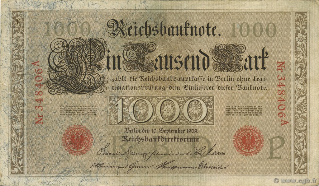 1000 Mark ALLEMAGNE  1909 P.039 SUP