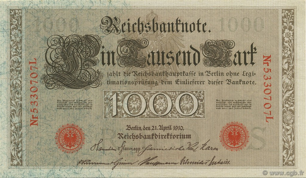 1000 Mark GERMANY  1910 P.044b UNC-