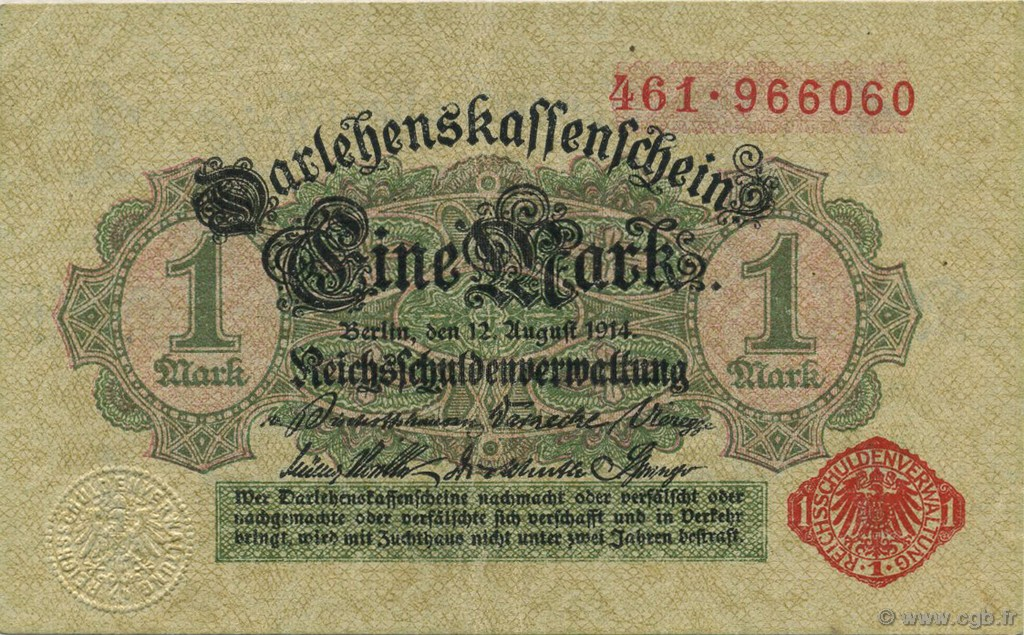 1 Mark ALLEMAGNE  1914 P.051 SUP+