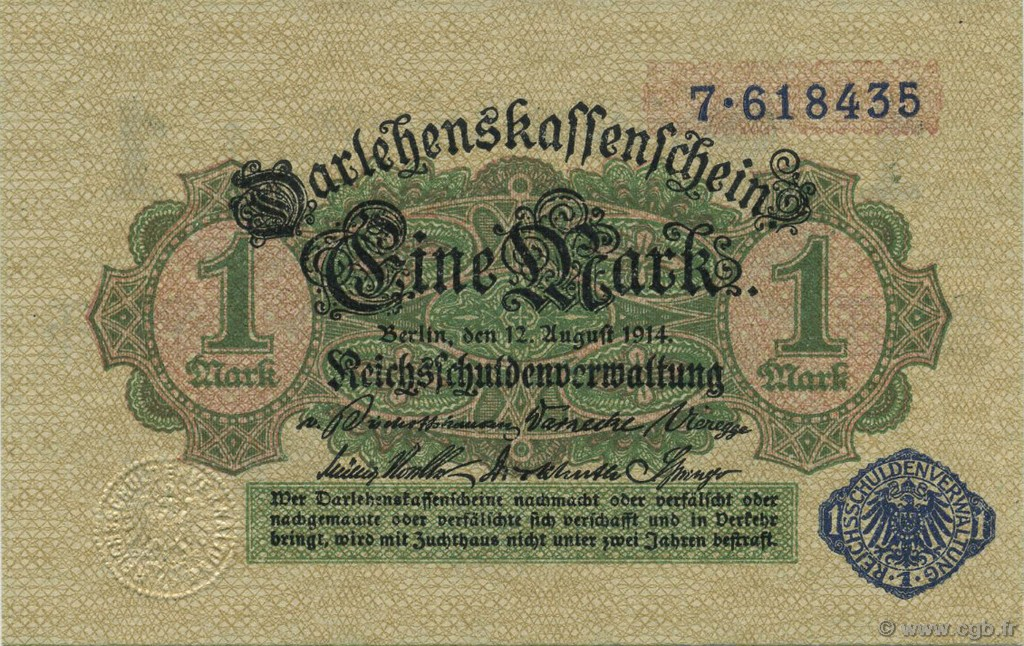 1 Mark ALLEMAGNE  1914 P.052 NEUF