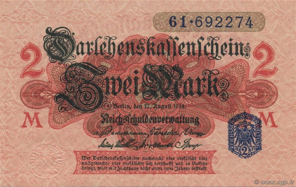 2 Mark ALLEMAGNE  1914 P.055 NEUF