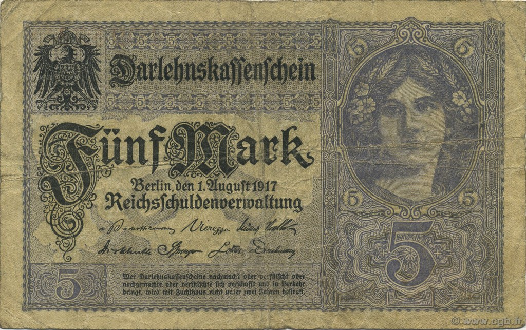 5 Mark ALLEMAGNE  1917 P.056b TB
