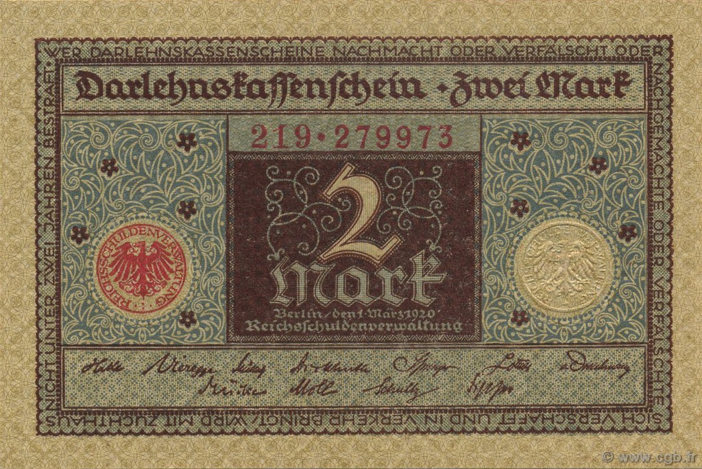 2 Mark ALLEMAGNE  1920 P.060 NEUF