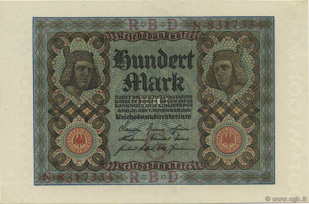100 Mark GERMANY  1920 P.069a UNC-