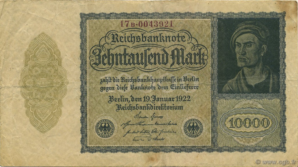 1922 Germany 1 Mark Banknote