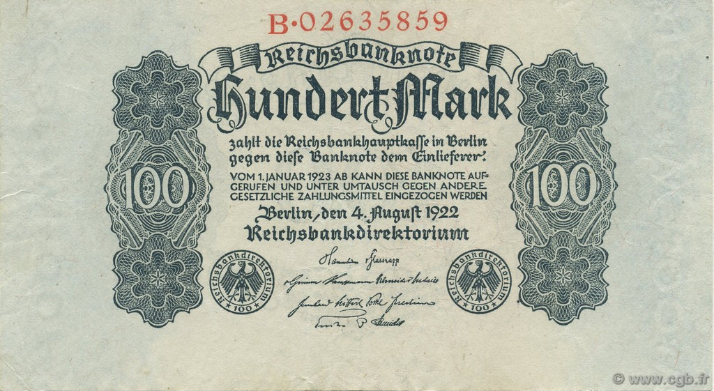100 Mark ALLEMAGNE  1922 P.075 SUP