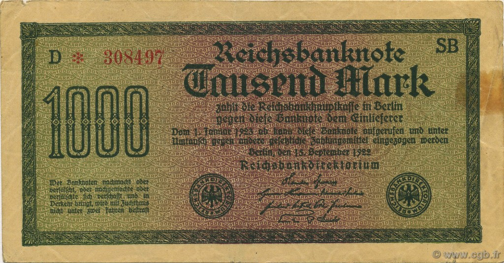 1000 Mark ALLEMAGNE  1922 P.076b TB