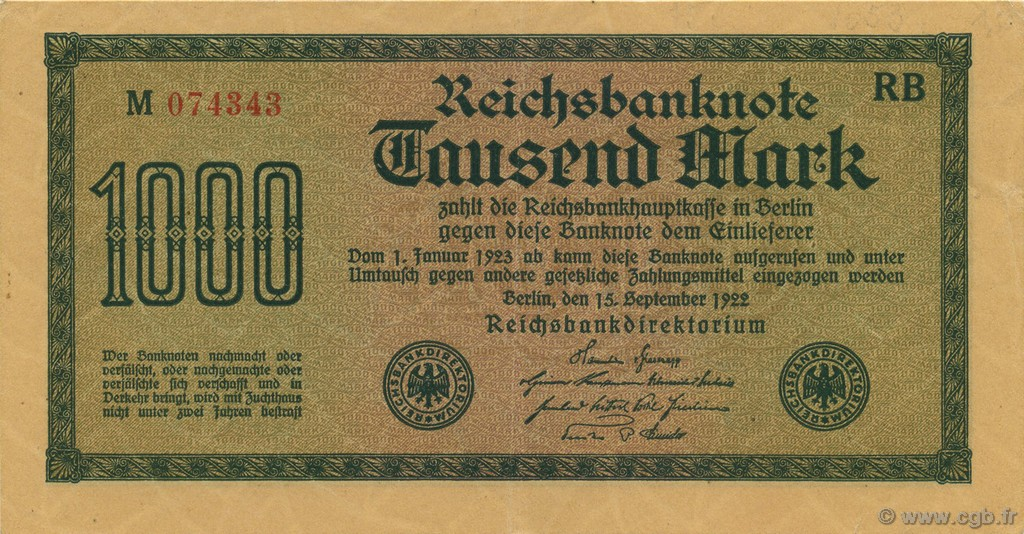 1000 Mark ALLEMAGNE  1922 P.076b SUP