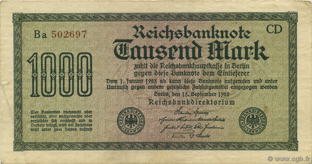 1000 Mark ALLEMAGNE  1922 P.076c SUP