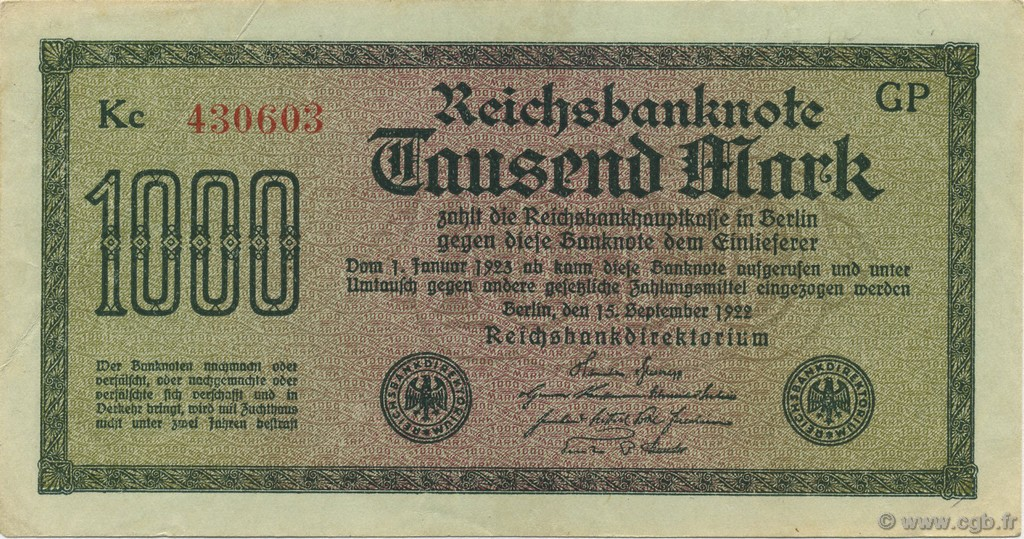 1000 Mark ALLEMAGNE  1922 P.076g SUP