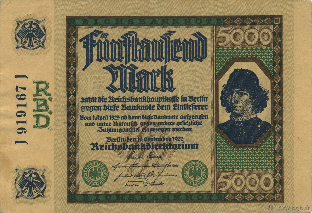 5000 Mark ALLEMAGNE  1922 P.077 SUP