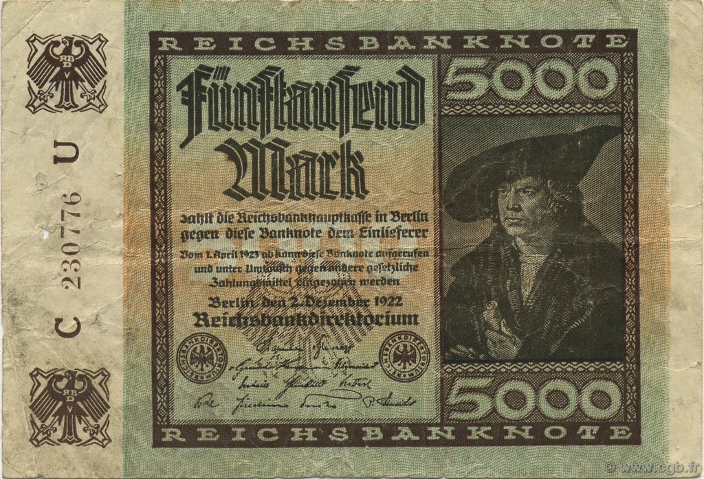 5000 Mark ALLEMAGNE  1922 P.081a TB