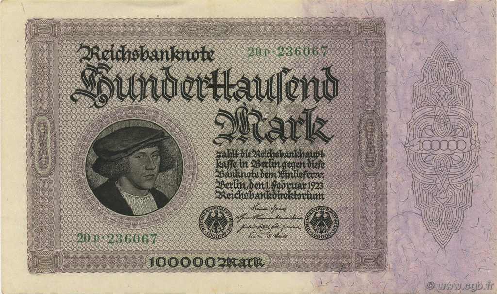 100000 Mark ALLEMAGNE  1923 P.083a SUP