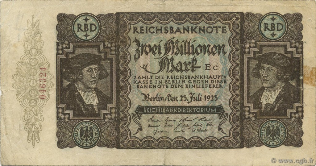 2 Millions Mark ALLEMAGNE  1923 P.089a TB+