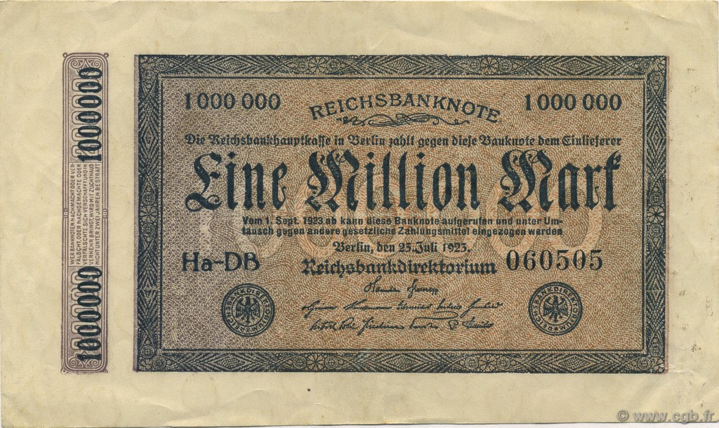 1 Million Mark ALLEMAGNE  1923 P.093 SUP