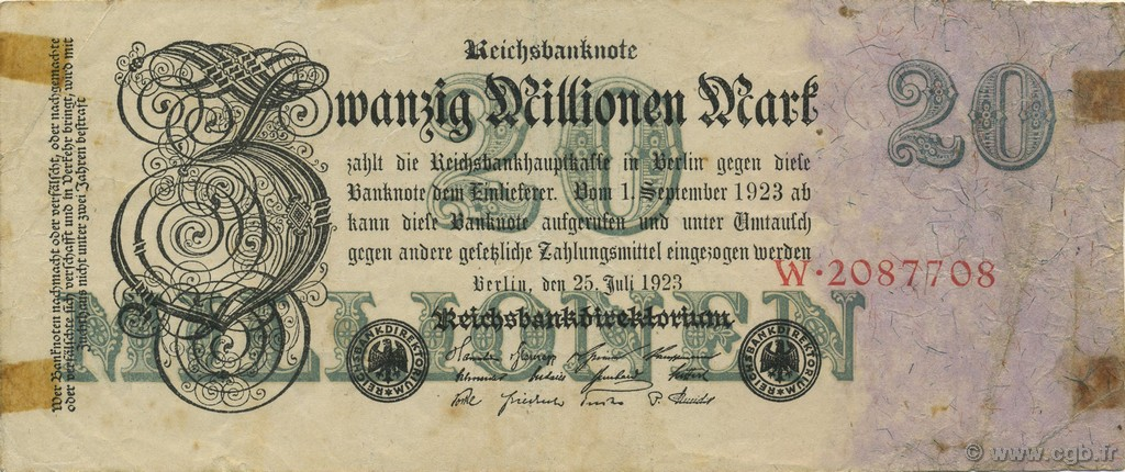 20 Millions Mark ALLEMAGNE  1923 P.097a TB+