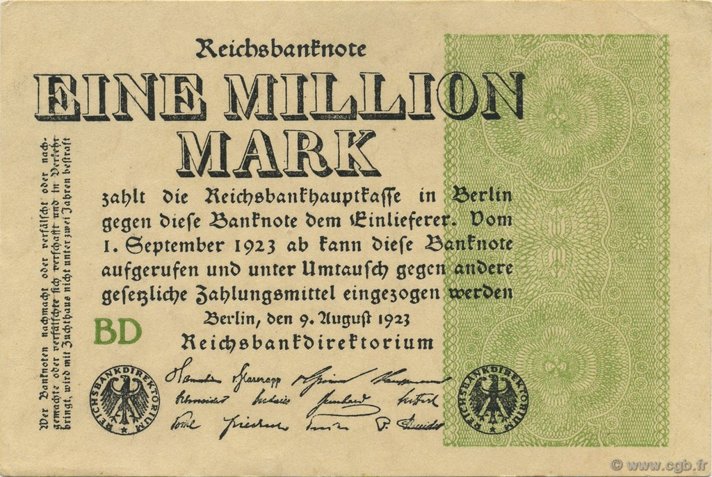 1 Million Mark ALLEMAGNE  1923 P.102b SPL