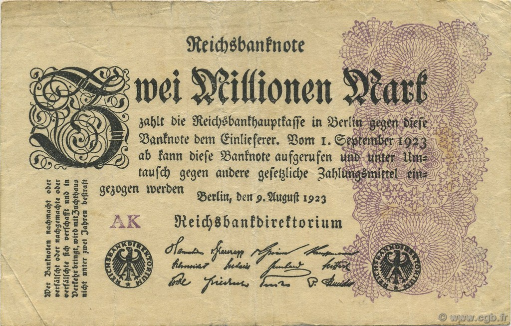 2 Millions Mark ALLEMAGNE  1923 P.104a TB