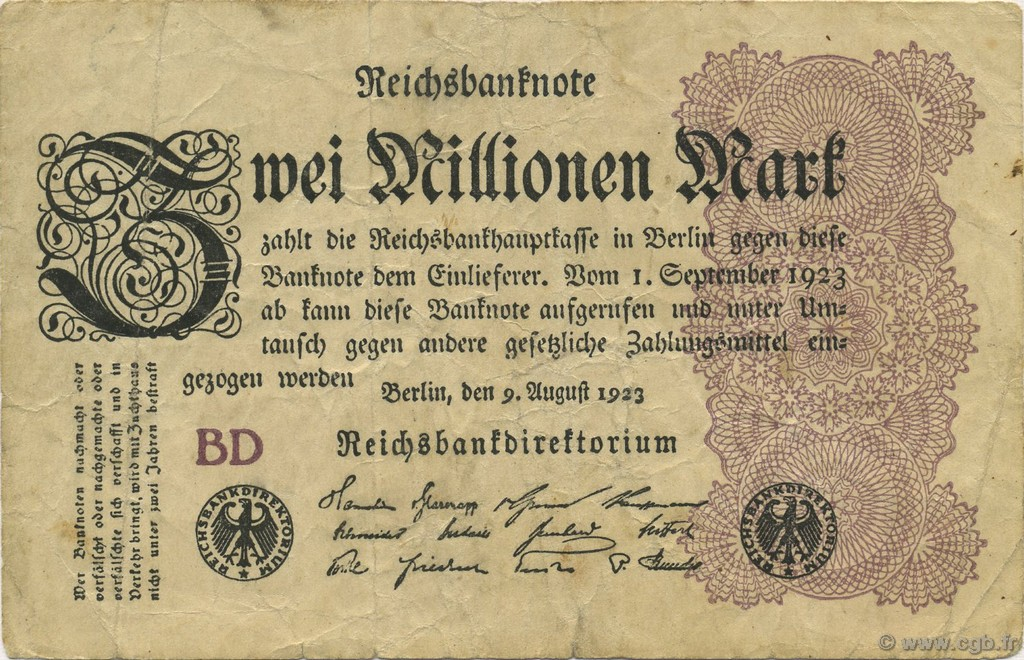 2 Millions Mark ALLEMAGNE  1923 P.104b TB