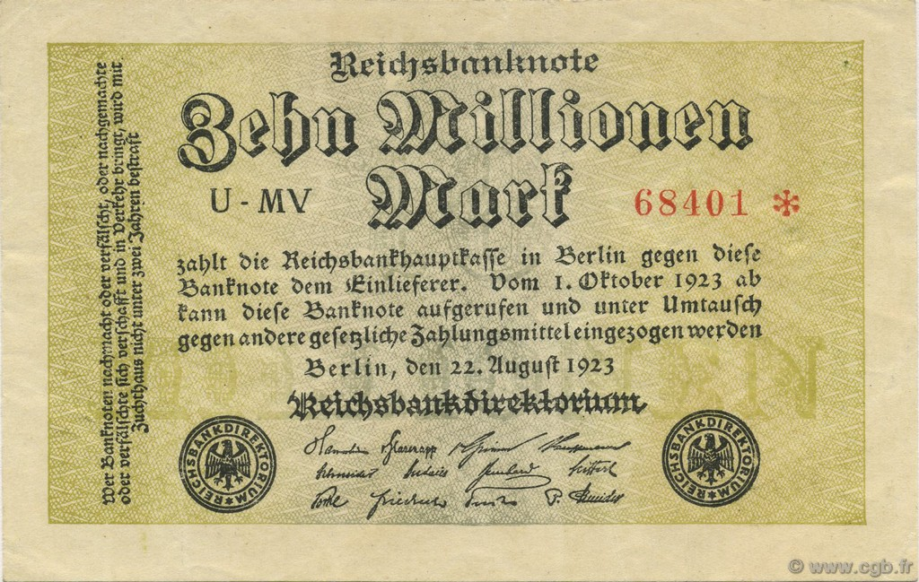 10 Millions Mark ALLEMAGNE  1923 P.106a SUP