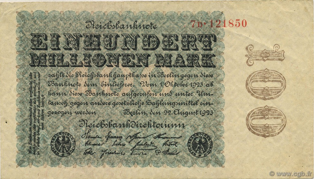 100 Millions Mark ALLEMAGNE  1923 P.107b SUP+