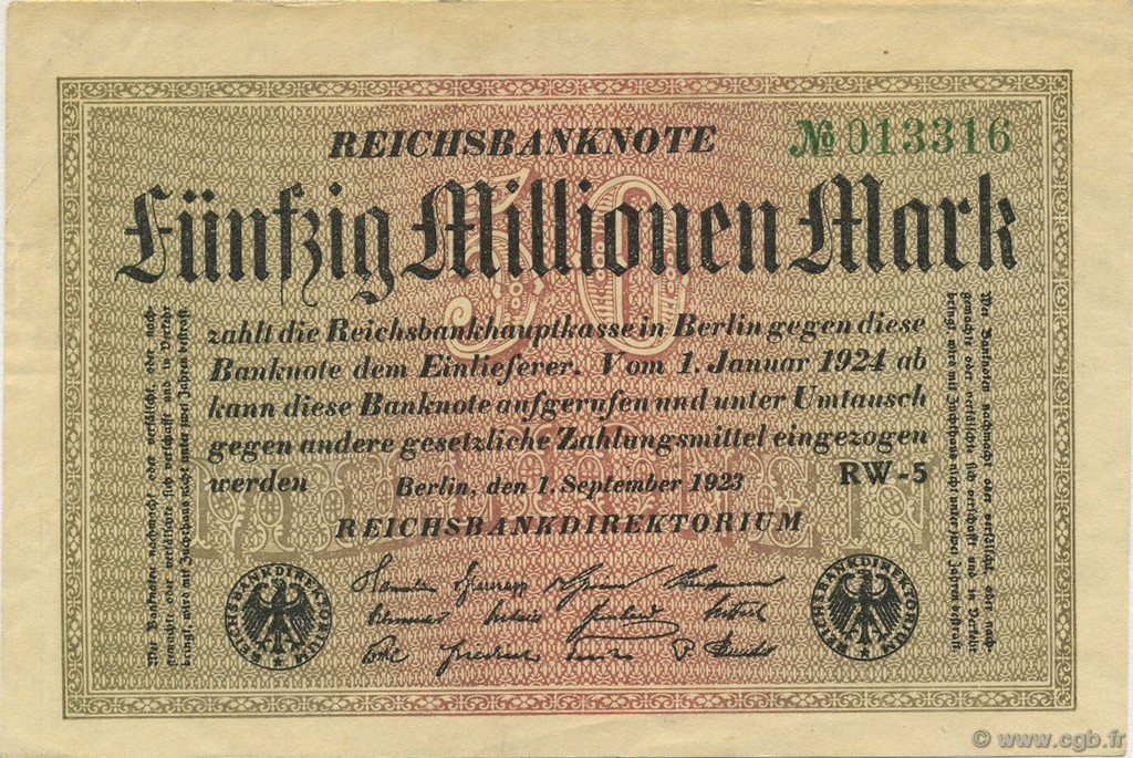 50 Millions Mark ALLEMAGNE  1923 P.109b SUP