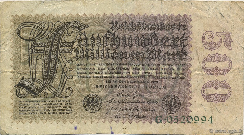 500 Millions Mark ALLEMAGNE  1923 P.110a TB