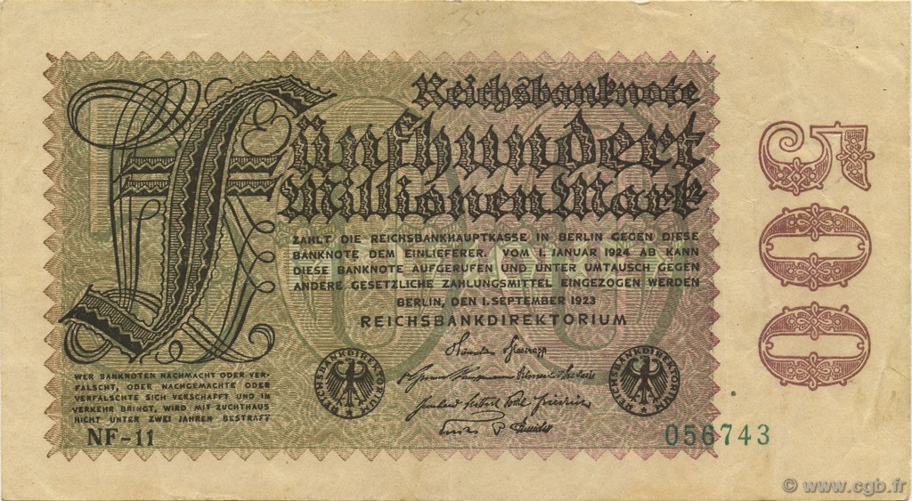 500 Millions Mark ALLEMAGNE  1923 P.110f SUP