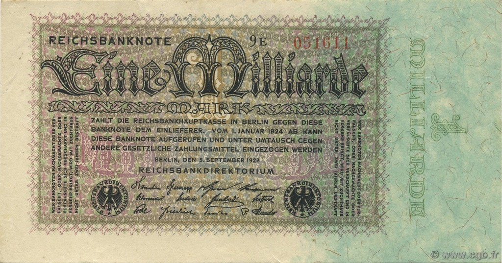 1 Milliard Mark ALLEMAGNE  1923 P.114 SUP+