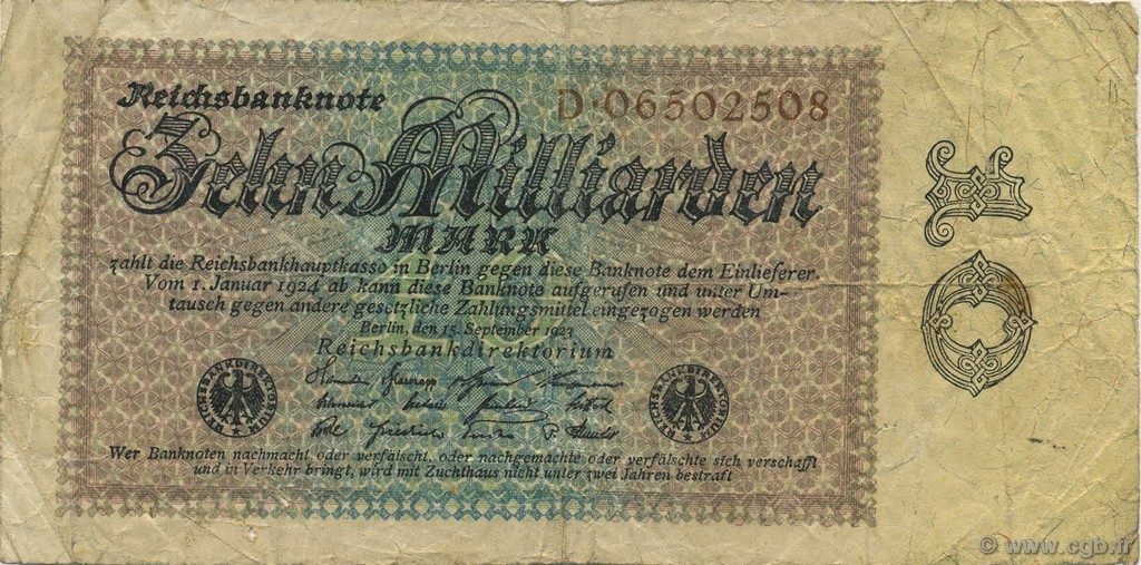 10 Milliards Mark ALLEMAGNE  1923 P.116a TB