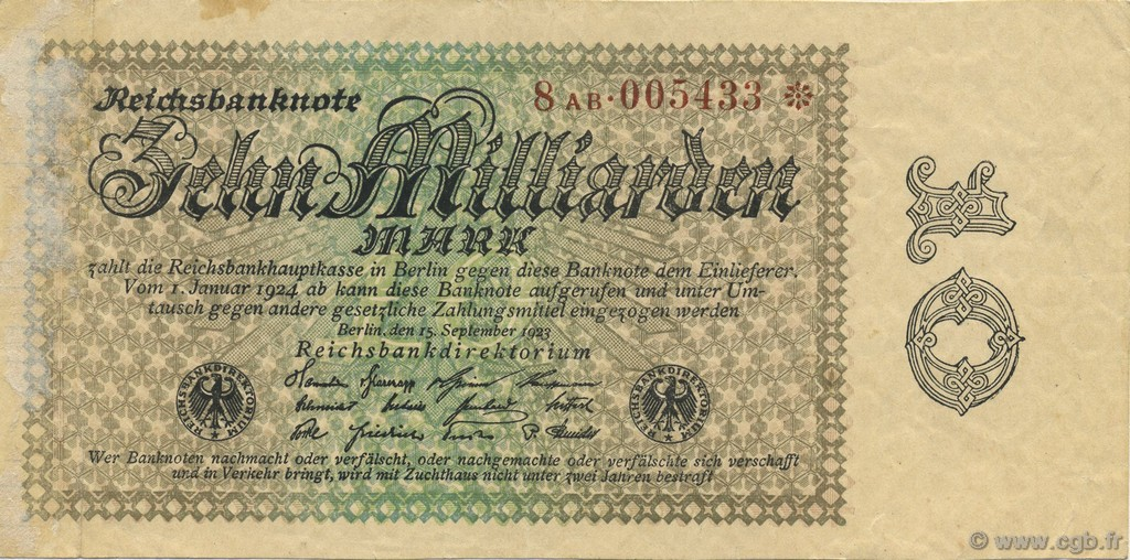 10 Milliards Mark ALLEMAGNE  1923 P.116b TTB